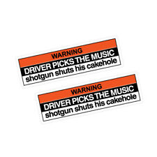 2x Warning Driver Picks The Music Sticker Decal Car #1319a