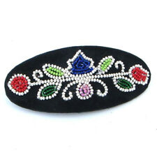 MULTICOLORED FLOWERS NATIVE AMERICAN STYLE INSPIRED OVAL BARRETTE