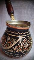 Handmade Copper Turkish Coffee Pot, Cezve,Silver Engraved, S size,Wonderful gift
