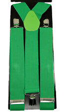 "Men's Unisex Clip-on Braces Elastic Y-back Suspender ""Green"" Width 1 1/2 inch"