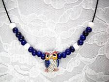 NEW 3D HOOT OWL CERAMIC PENDANT COBALT BLUE WINGS w BEADED ACCENTS ADJ NECKLACE