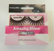 AMAZING SHINE HUMAN HAIR FALSE EYELASHES  EYE LASHES - #62 -  WITH ADHESIVE TUBE
