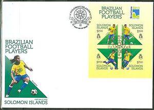 SOLOMON ISLANDS BRAZILIAN FOOTBALL SOCCER PLAYERS SHEET OF 4 NEYMAR AS SHOWN FDC