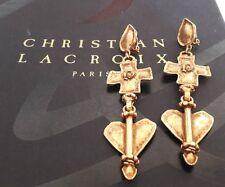 Longues boucles vintage couture coeurs métal doré signées Christian Lacroix