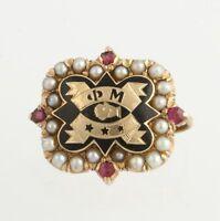 Phi Mu Badge - 14k Yellow Gold Pearls Rubies Sorority 1915 Vintage Philomathean