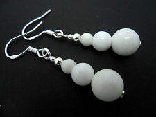 A PAIR OF WHITE JADE BEAD   EARRINGS WITH 925 SOLID SILVER HOOKS. NEW..