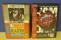 NBA Jam + Bulls versus Blazers NBA - Sega Genesis Working Tested - 2 Game Lot