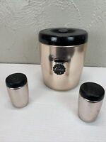 Vintage West Bend Copper Aluminum Cookie Jar Tin Black Lid Graphics Mid Century