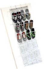 Over the Door Shoe Organizer - 24 Wide Pockets, Hanging Shoe Holder Gray