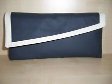 Navy blue and ivory faux leather asymmetrical clutch bag, fully lined BN