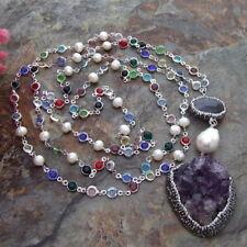"S102804 52"" White Pearl Amethyst Necklace Amethyst Druzy Pendant"
