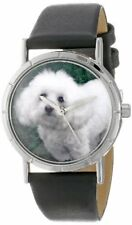 Whimsical Watches Bichon Dog Lover R0130010 Silver-Tone Black Leather Strap NEW!