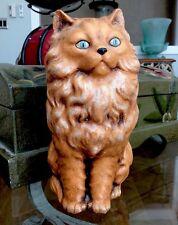 "Beautiful Vintage Chalkware Orange Fluffy Long Hair Cat Figurine 7"" Rare Xlnt"