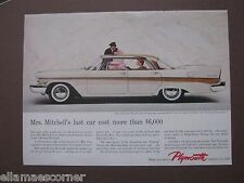 Vintage Late 1950s Plymouth 8.5 by 11 Ad