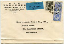SINGAPORE COMMERCIAL RUBBER CO PRINTED ENV 1935 AIRMAIL KG5 MALAYA STRAITS to GB
