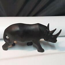 "Vintage Hand Carved Wood Black Rhino Rhinoceros Sculpture Statue 8"" Long"