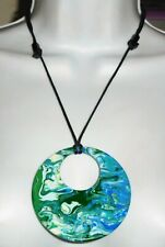 Sobral Pollock Gorky Blue Green White Swirl Large Pendant Necklace Brazil Import