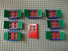 Lego Minifig ~ Lot Of 7 Windows w/Door & Shutters / House City Town White Blue