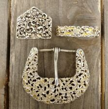 Reno Nevada Sterling Silver Gold Washed Buckle Set