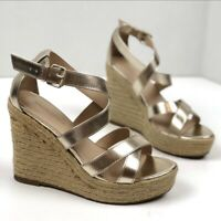 Banana Republic Factory 6 Wedge Espadrille Sandal Gold Womens Heeled Jute Shoes