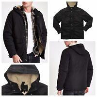 RIVER ISLAND Men's Black Hooded Borg Lined Jacket Size S Winter Jacket
