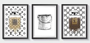 Set of 3 Fashion Art Prints Designer Coco Perfume Bottle Glitter A5 A4 A3 S32