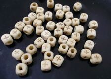 150pcs 8mm WOODEN Cube Square Beads with CROSS Imprint Unpainted Natural B33