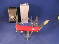 Victorinox Swiss Army Work Champ Pocket Knife & Leather Sheath (Red) Mint In Box