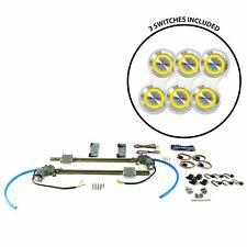 2-Dr Flat Glass Power Window Kit w/3 Billet Switches - Yellow Illumination