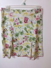 Heart Soul Beach Scene Skirt with Pleats Palm Trees Flip Flops Pink Green Yellow