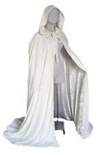 Velvet Ivory Hooded Cloak Snow Queen Princess Satin Lining Wicca Robe Costume