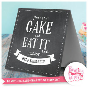 Cake Cupcake Table Top Vintage Style Sign Chalkboard Print Wedding Engagement