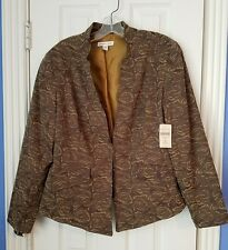 *NEW* $99 Coldwater Creek Woman Jacket Size 16 Brown Floral Print Lined Shaped