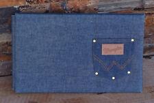 "Vintage Wrangler Jeans Real Denim Photo Album 9"" x 15"" Scrapbook Wedding Cowboy"