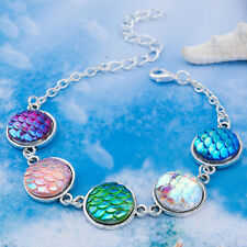 MERMAID SCALE BRACELET Iridescent / Silver Charm Jewellery Gift Idea Fish Dragon