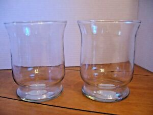 "SET of TWO ~ INDIANA GLASS CLEAR HURRICANE CANDLE HOLDERS ~ 6"" High ~ EUC"