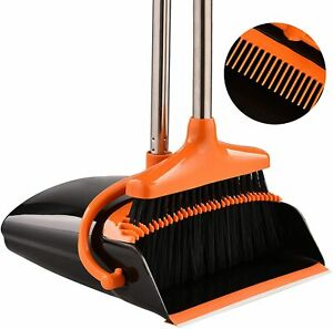 Broom and Dustpan Sweep Floor Clean Set Home Lobby Standing Angled W/Long Handle