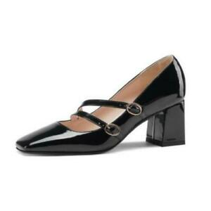 44/48 Fashion Women Block Heel Mary Janes Square Toe Ankle Buckle Strap Shoes D