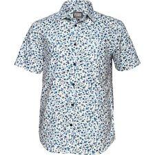 Fluido de manga corta para hombre Florido Floral Camisa Azul Tamaño Medio 40 Pecho Nuevo
