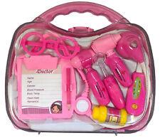 Children's PINK Doctors Nurses Kit Role Play Set Medical Toy & Carry Case 8805