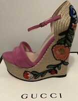 Authentic Gucci Platform Espadrille High Heel Floral Embroidery Shoes NEW IN BOX