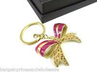 Vintage Antique Gold Bow Purple Rhinestone Keyring Charm Handbag Keychain