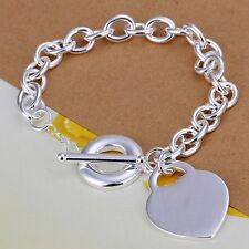Fashion 925Sterling Solid Silver Jewelry Heart Charm T-O Bracelet For Women H274