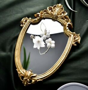 Nordic Makeup Mirror Vintage Old Design Embossed Wall Hanging Mirror Home Decor