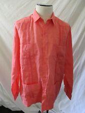 RAMON PUIG coral pink 100% linen long sleeve button front guayabera shirt XL