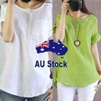 Women Summer Blouse Simple Casual Short Sleeve Shirt Cotton Linen Blouse Tops AU