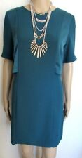 NWT BEAUTIFUL TEAL SATIN DETAIL SHIFT DRESS SIZE 12