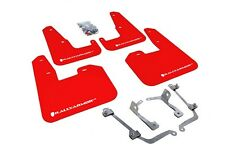 Rally Armor Mud Flaps Guards for 08-14 STi 11-14 WRX Hatch (Red w/White Logo)