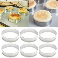 6Pcs Acero Inoxidable Pastel Mollete Crumpet Pan Molde Para Anillos panadería herramientas
