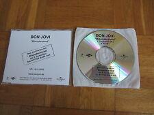BON JOVI Misunderstood RARE 2002 GERMANY collectors acetate CD single